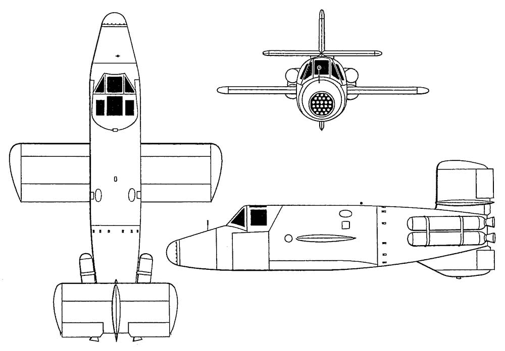 Чертеж таранного истребителя Ba-349 «Наттер»