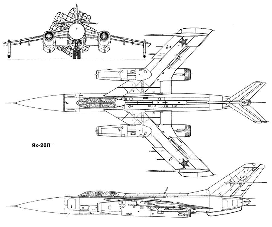 Чертеж бомбардировщика Як-28