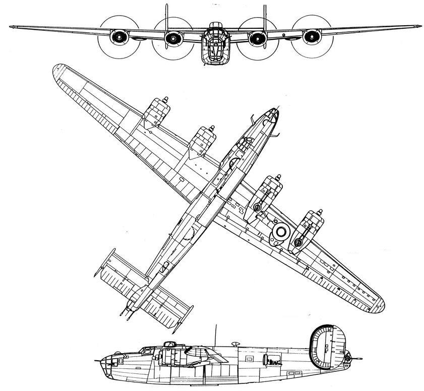 Чертеж бомбардировщика B-24 «Либерейтор»