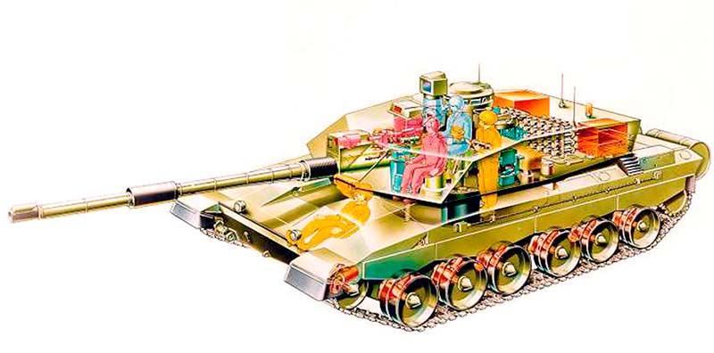 Устройство основного танка Chieftain, обратите внимание на положение механика-водителя