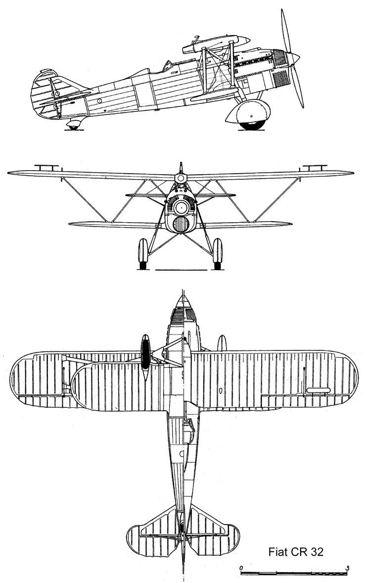 Чертеж истребителя ФИАТ CR-32 «Чирри»