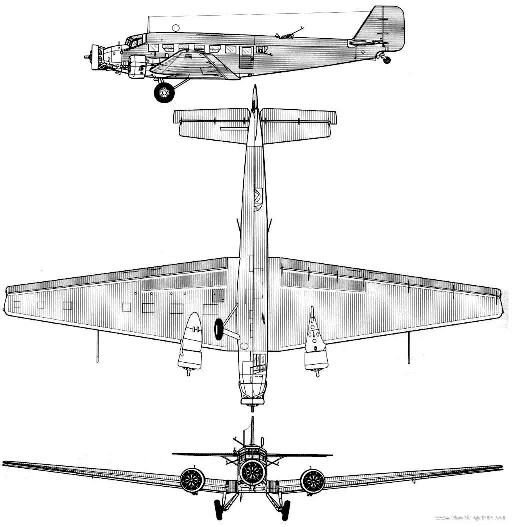 Схема транспортного самолета Ju-52