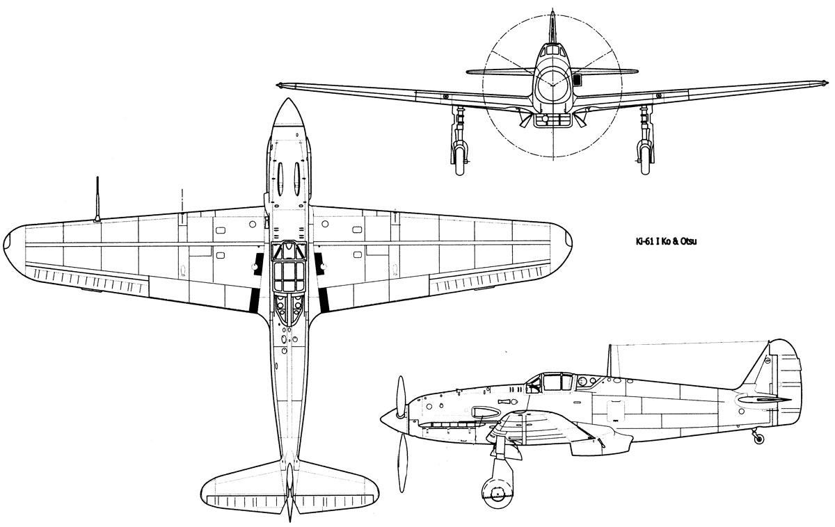 Чертеж истребителя Ki-61