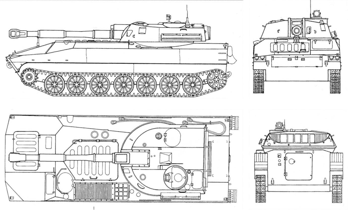 Чертеж самоходной гаубицы 2С1 «Гвоздика»