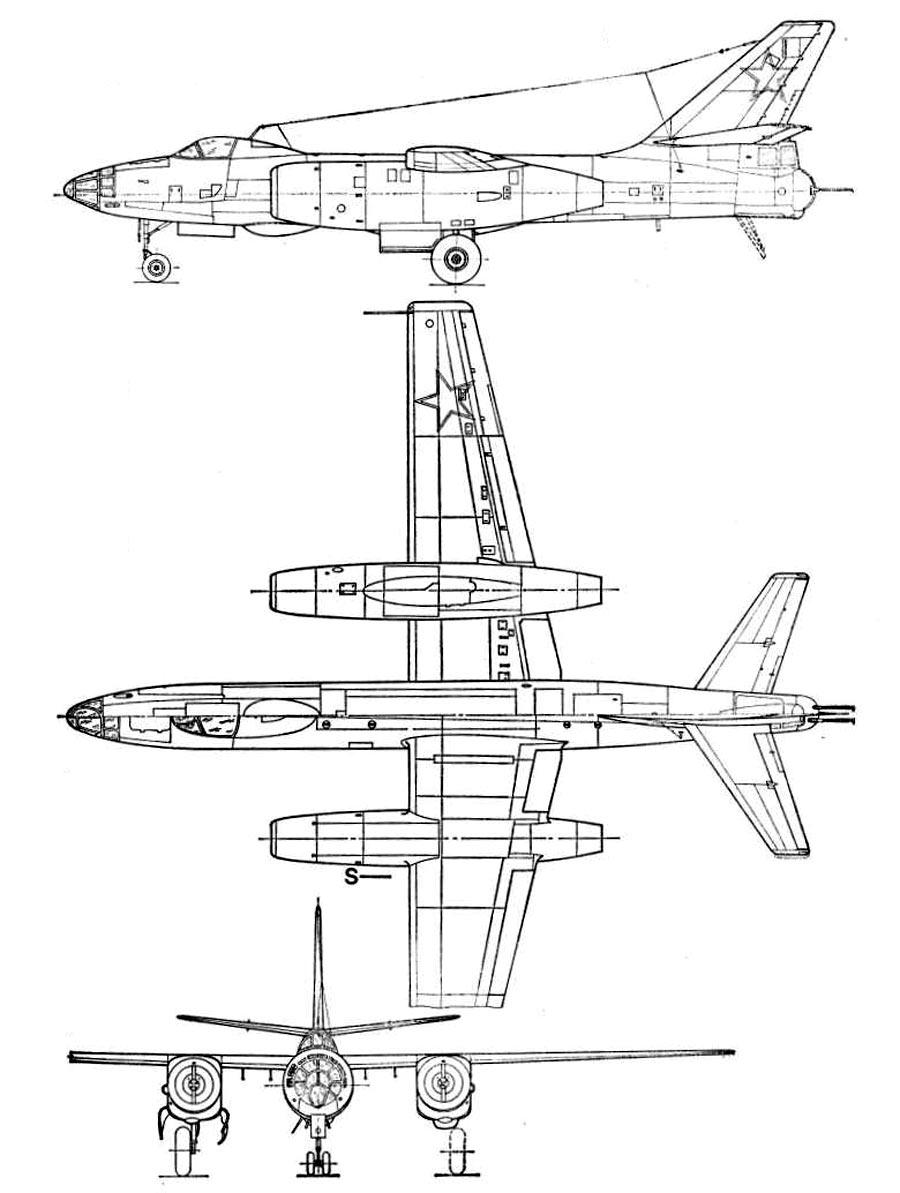Чертеж бомбардировщика Ил-28