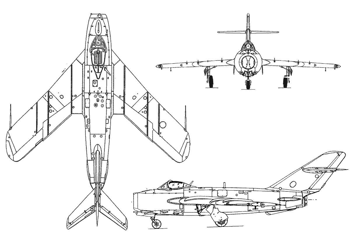 Чертеж истребителя МиГ-17
