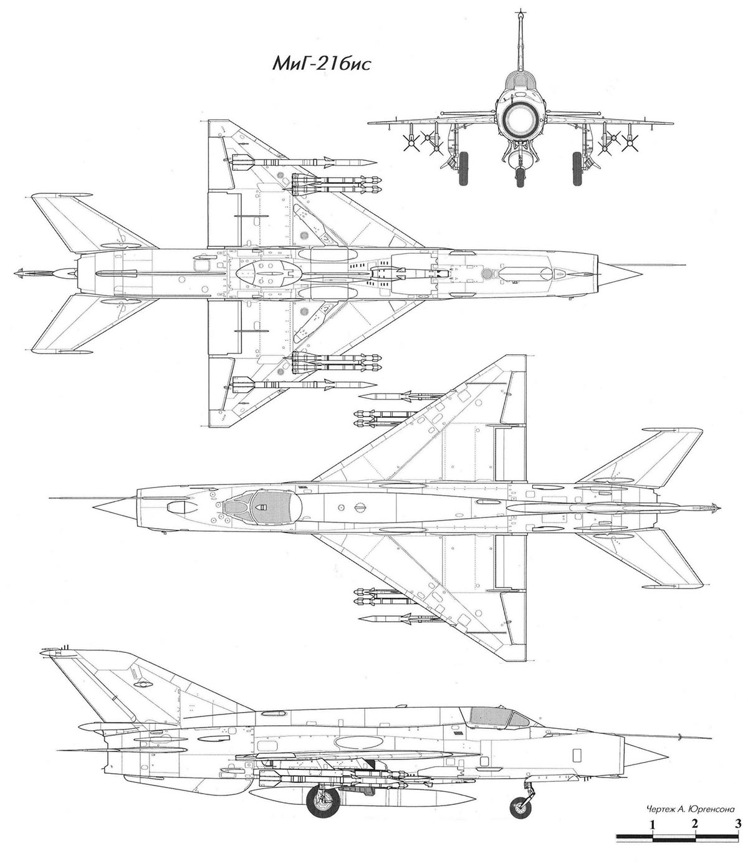 Чертеж истребителя МиГ-21