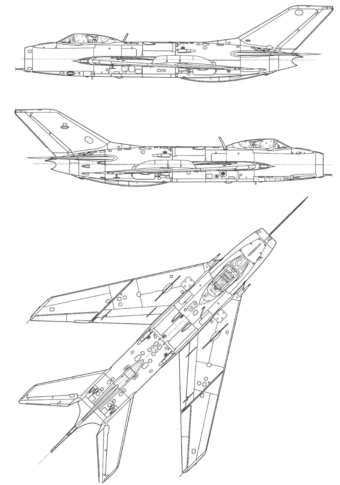 Чертеж истребителя МиГ-19