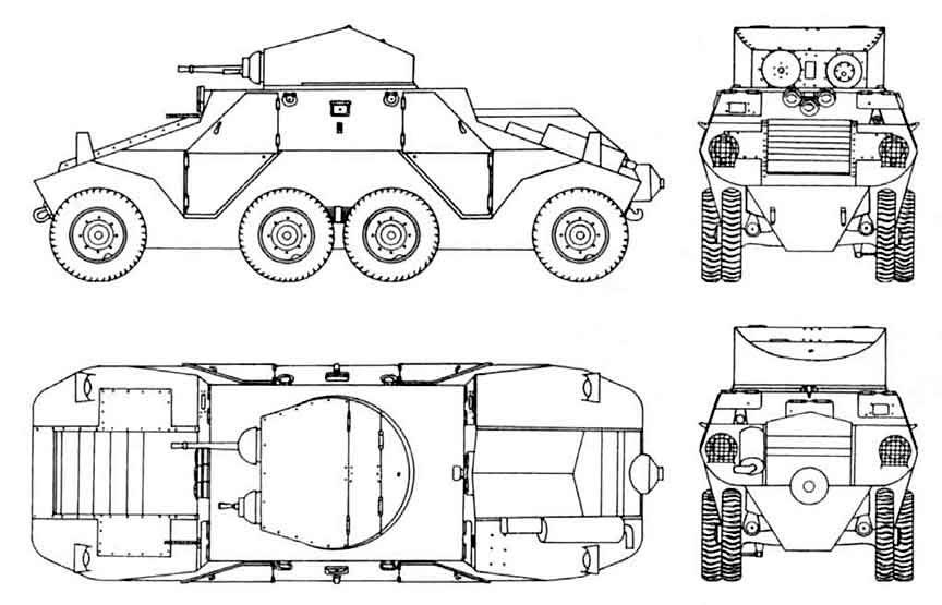 Общая схема (чертеж) тяжелого бронеавтомобиля ADGZ