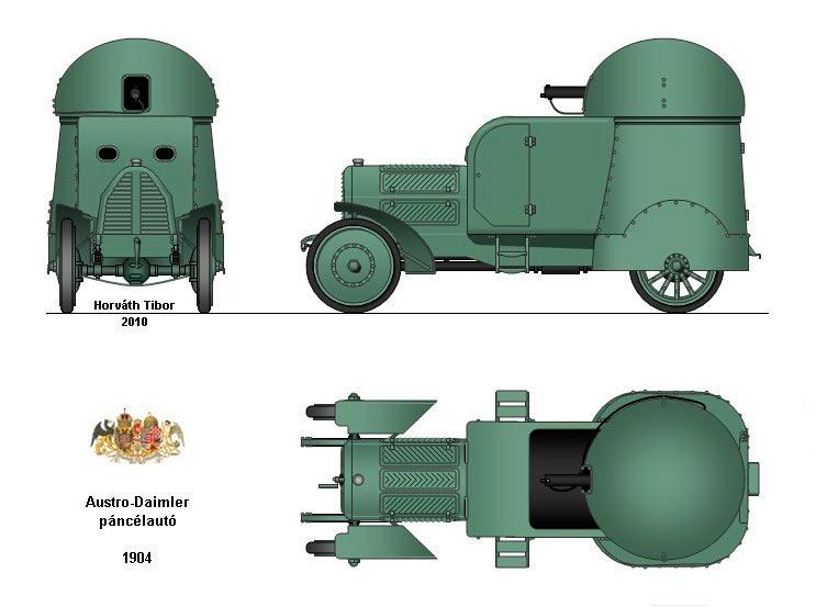 Общий вид бронеавтомобиля Austro-Daimler (Австро-Даймлер) Panzerwagen 1905 г.