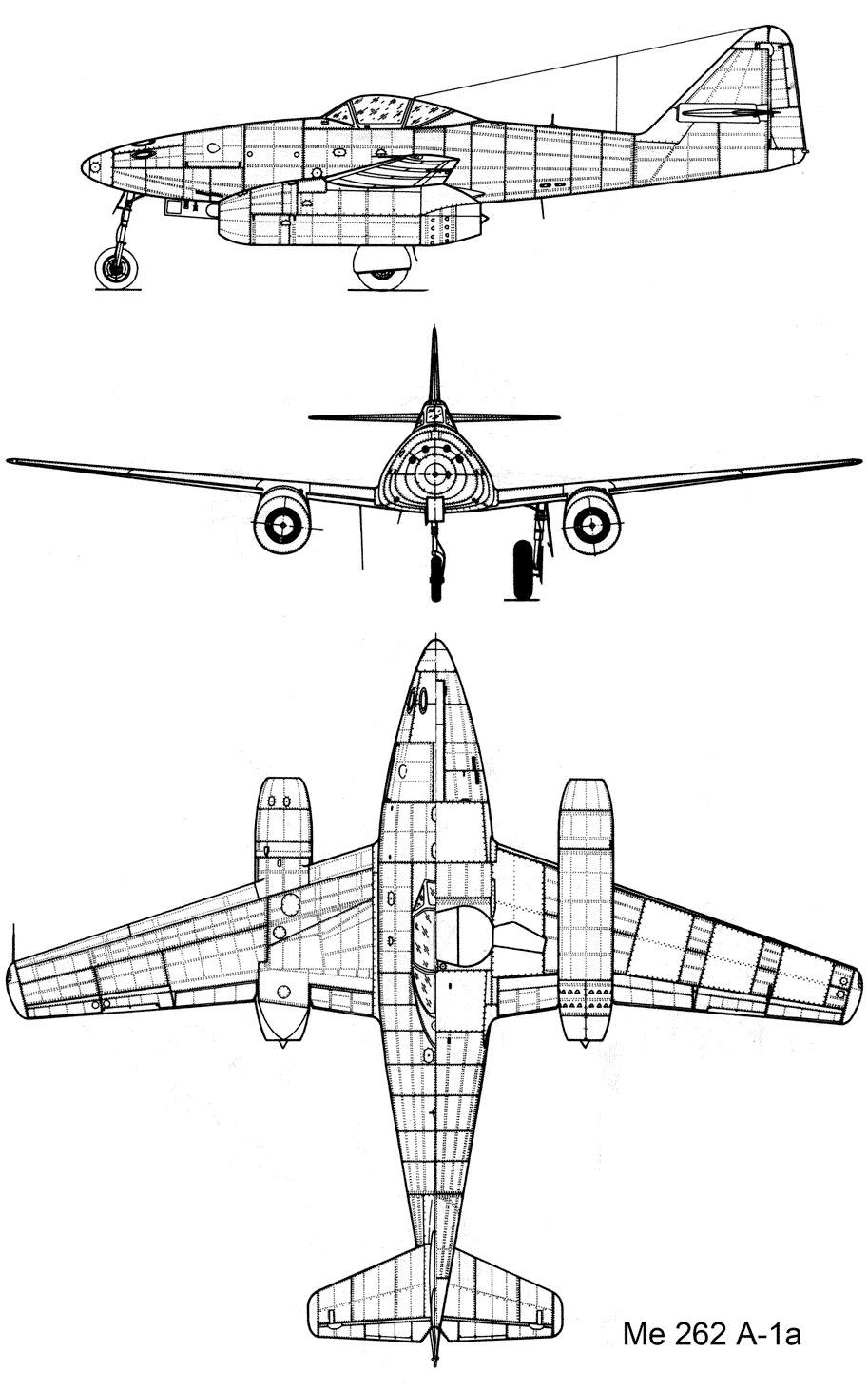 Чертеж реактивного истребителя Me-262