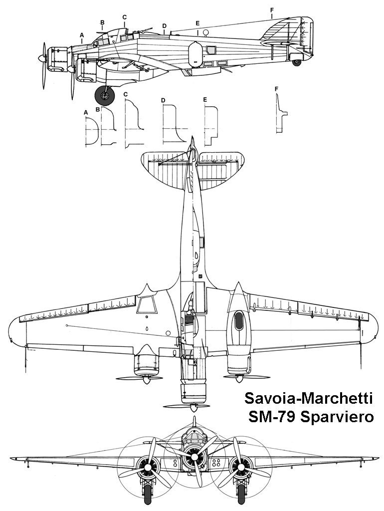 Чертеж бомбардировщика SM.79