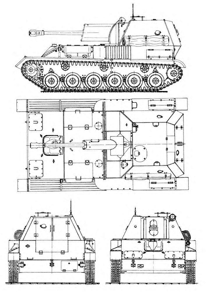 Чертеж САУ СУ-76