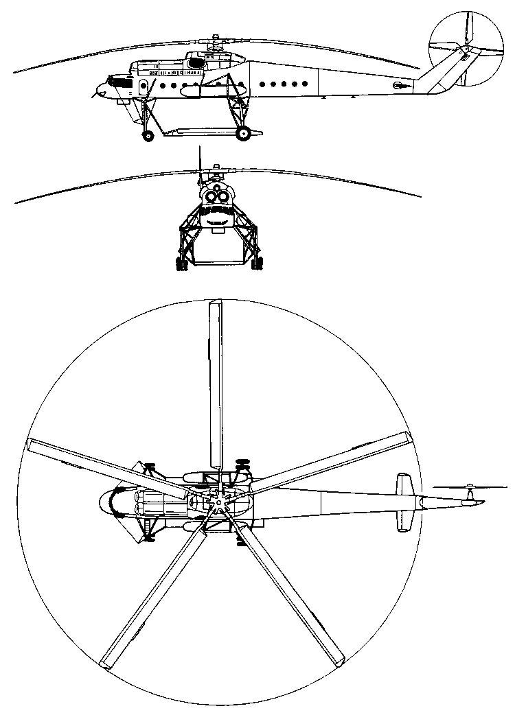 Общая схема вертолета Ми-10