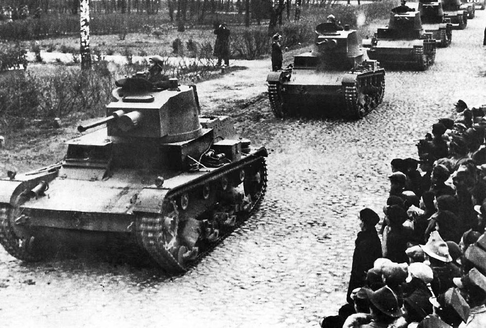 Колонна танков 7TP, 1938 год