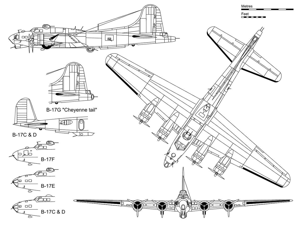 Чертеж тяжелого бомбардировщика B-17