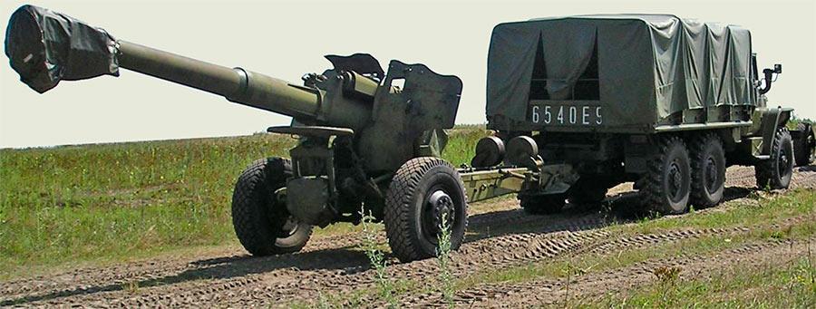 Транспортировка 152-мм пушки-гаубицы Д-20