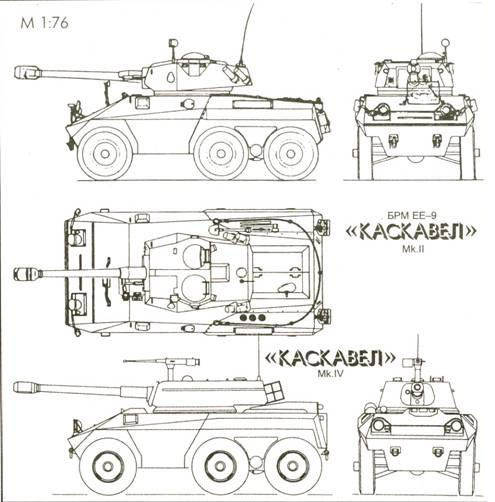 Схема бронеавтомобиля ЕЕ-9 Каскавел