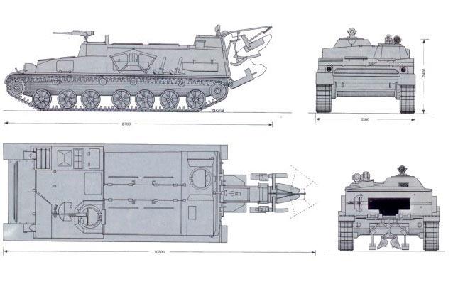 Общая схема гусеничного минного заградителя ГМЗ-3
