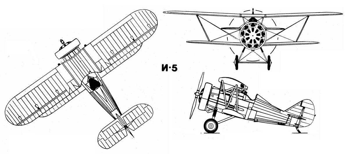 Чертеж истребителя И-5 конструкции Григоровича и Поликарпова