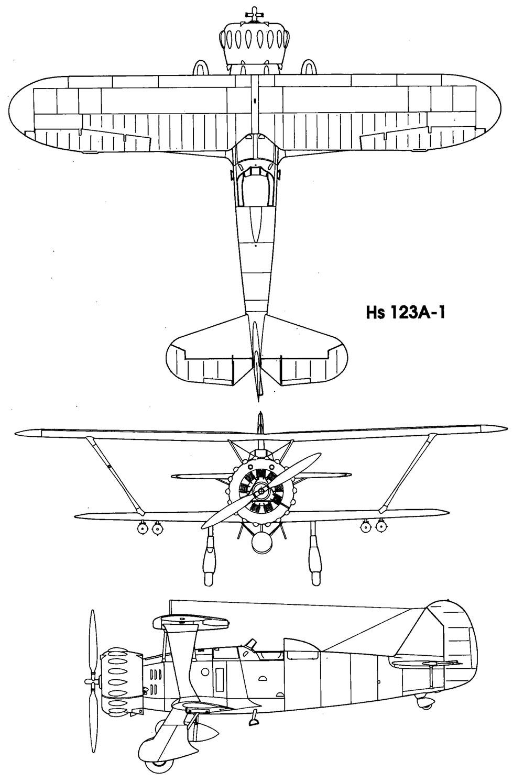 Чертеж пикирующего бомбардировщика Хеншель Hs.123