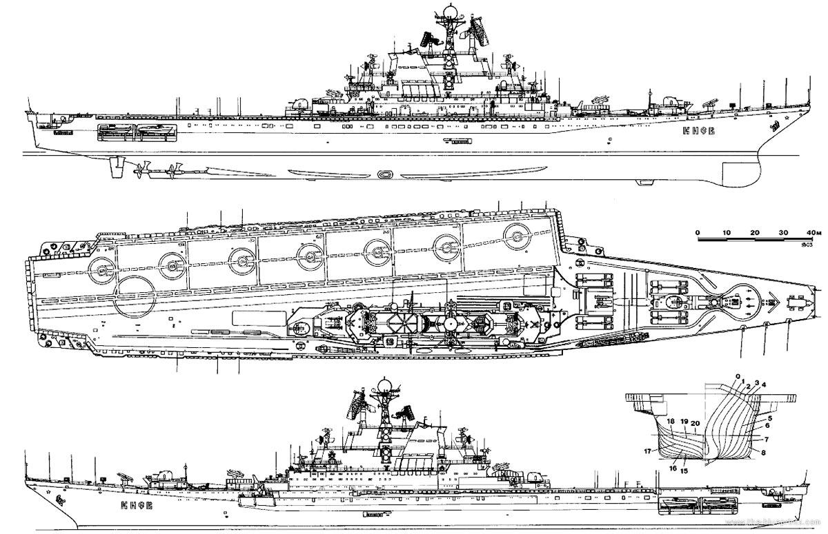 Чертеж тяжелого авианесущего крейсера проекта 1143 «Кречет»