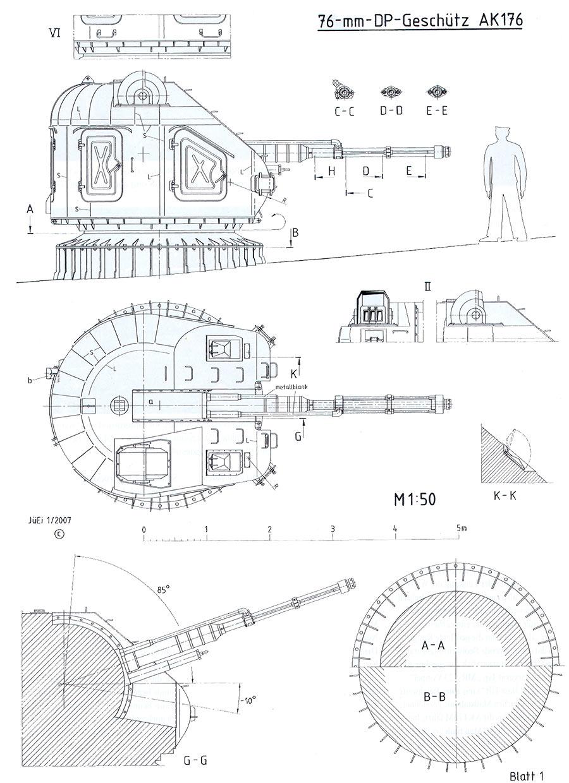 Чертеж корабельной артиллерийской установки АК-176