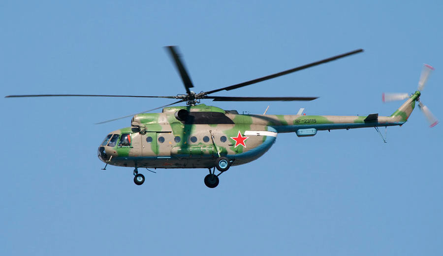 Ми-8Т. Обратите внимание на иллюминаторы - у транспортных вариантов Ми-8 они круглые, у пассажирских - квадратные