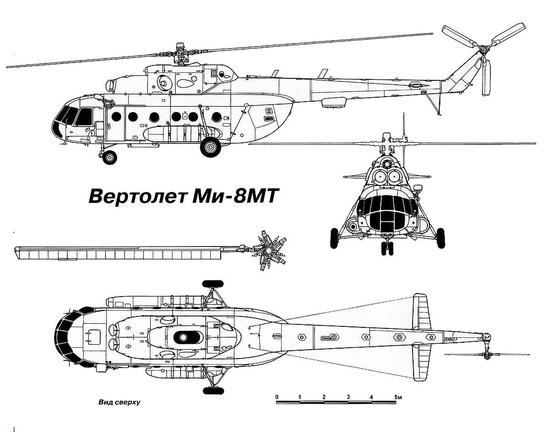 Чертеж-схема вертолета Ми-8