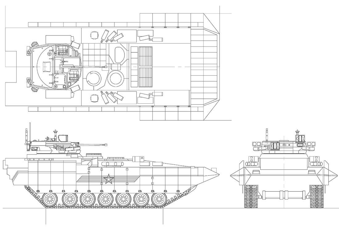 Чертеж боевой машины пехоты Т-15
