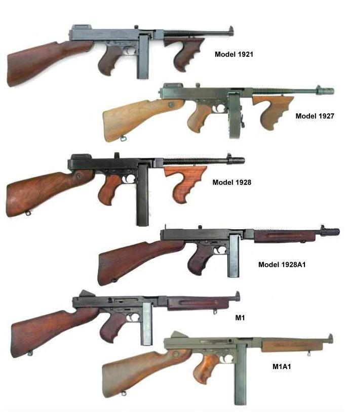 Разные модификации пистолета-пулемета Томспона