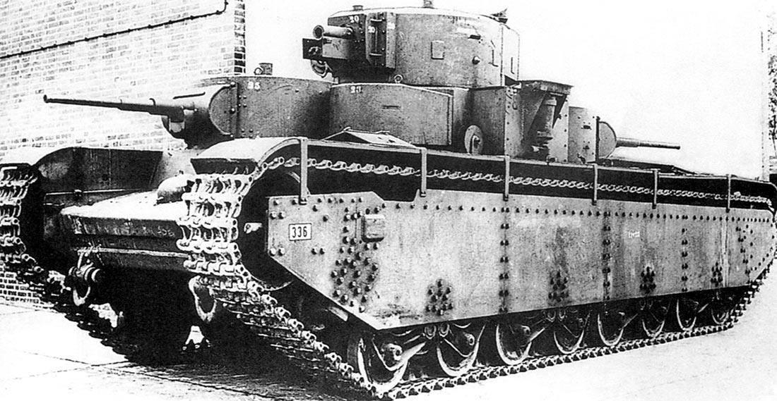 Трофейный советский танк Т-35 ИЗ 67-го танкового полка, на испытательном полигоне в немецком Куммерсдорфе. Цифры на листах брони - показатели их толщины.