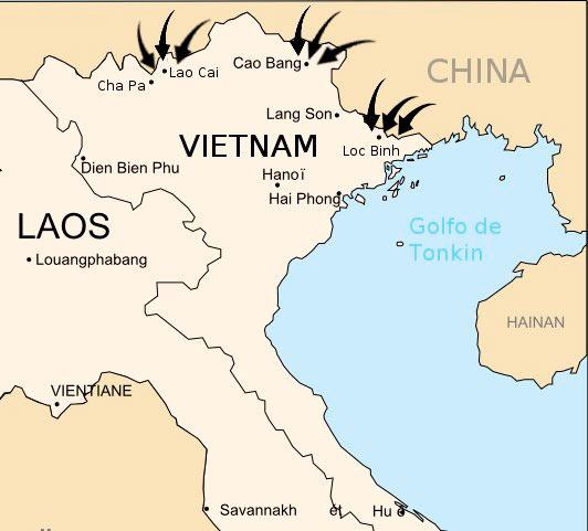 Карта китайского вторжения во Вьетнам