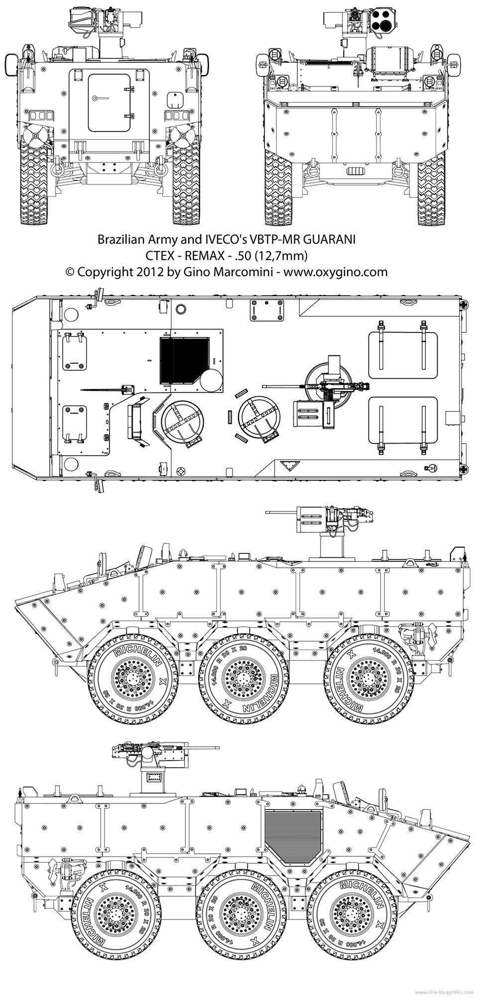 Чертеж бронетранспортера VBTP-MR «Guarani»
