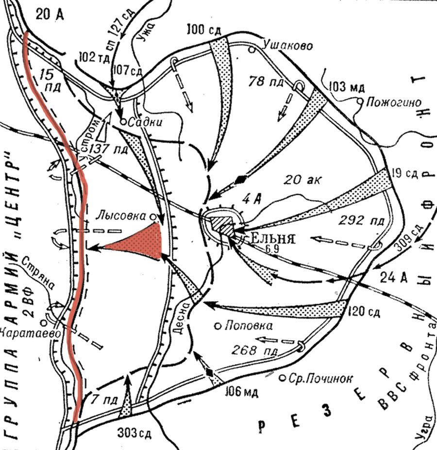 Положение фронта на 8 сентября 1941г.,Ельнинский выступ ликвидирован