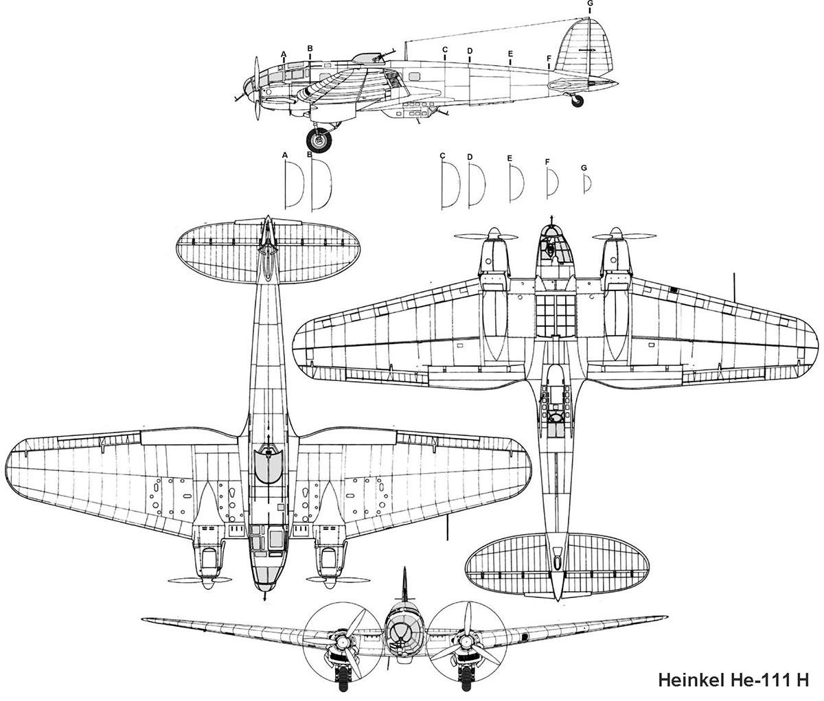Чертеж бомбардировщика Heinkel He.111