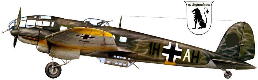 Немецкий бомбардировщик He-111. Вид сбоку