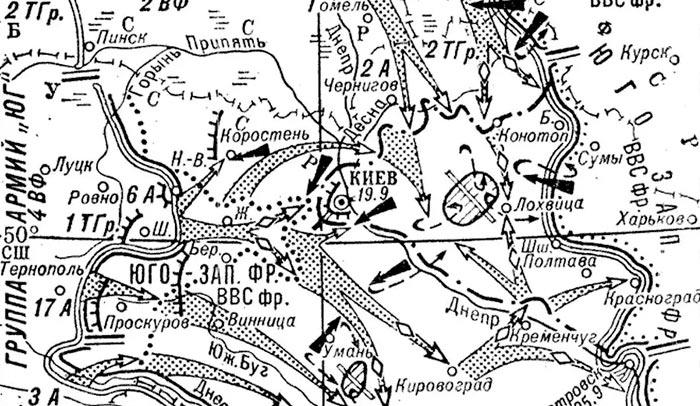 Общая схема киевской оборонительной операции 1941 г.