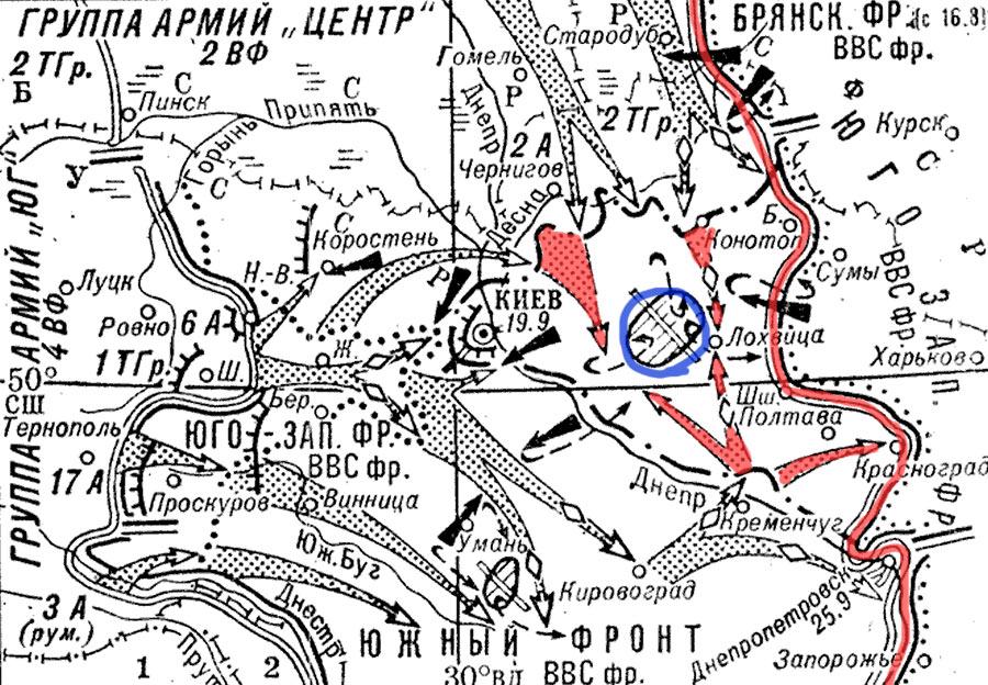 Форсировав Днепр части группы «Юг» зажимают 4 советские армии в клещи, а части группы армий «Центр» захлопывают крышку киевского котла