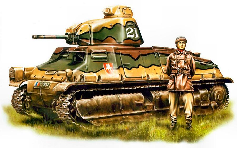 Французский танк SOMUA S-35, вид сбоку