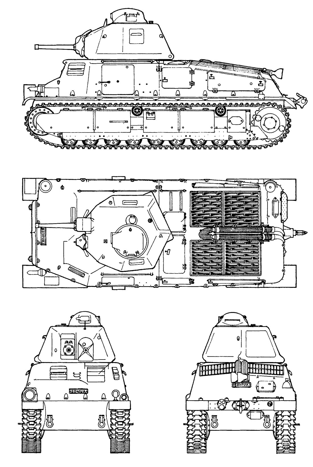 Чертеж танка SOMUA S-35