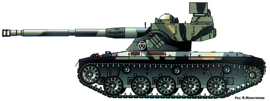 Легкий танка SK-105 «Кирасир», вид сбоку