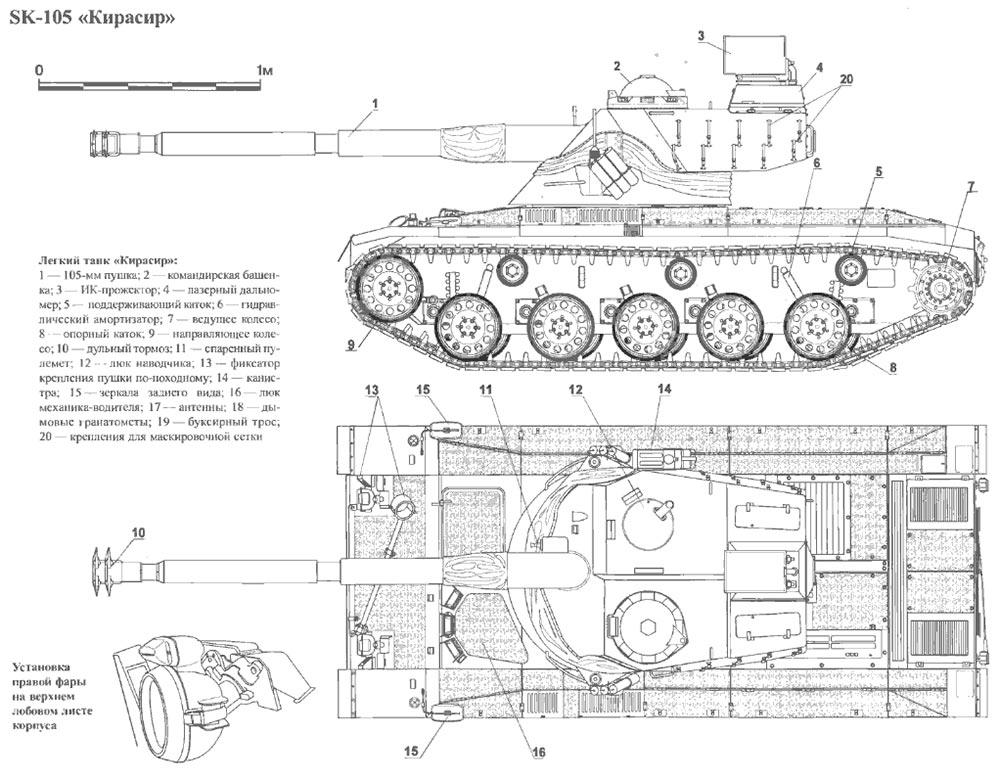Чертеж легкого танка SK-105 «Кирасир»