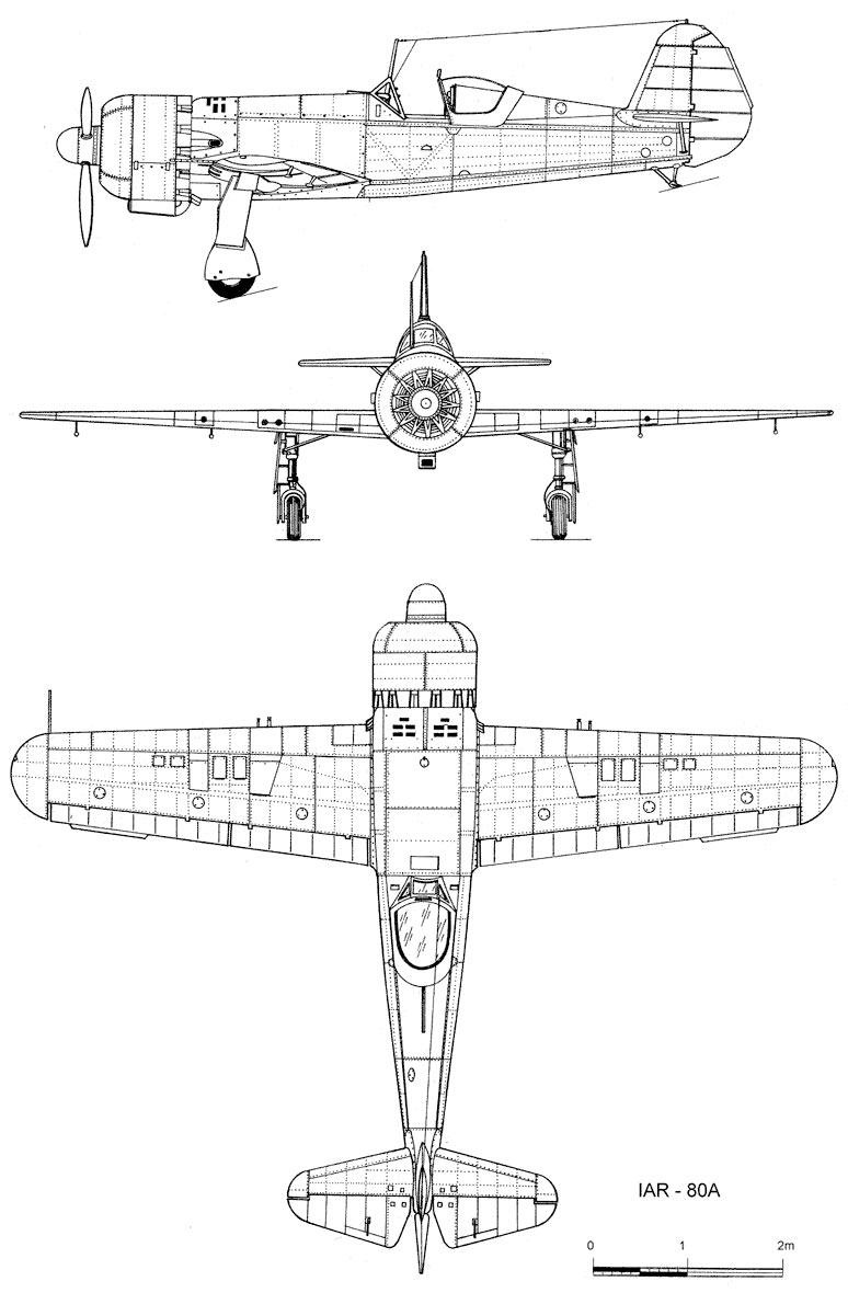 Чертеж истребителя IAR-80