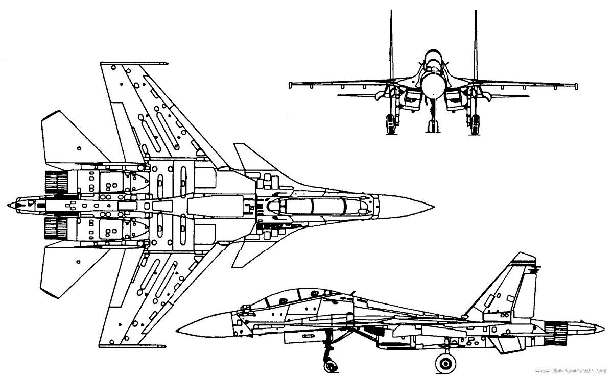 Чертеж многоцелевого истребителя-бомбардировщика Су-30