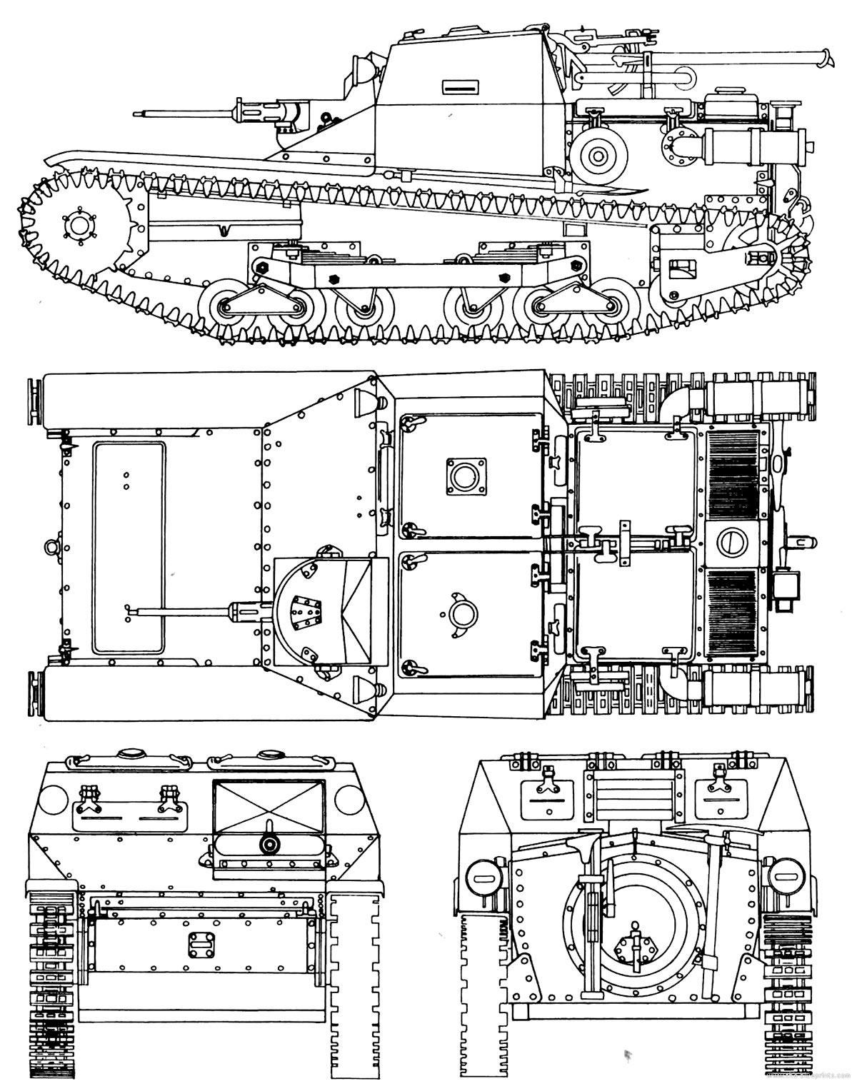 Чертеж итальянской танкетки CV3/33