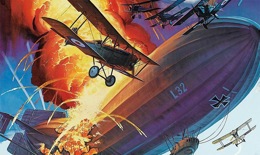 Под конец Первой Мировой войны, в воздушных сражениях участвовали уже десятки аэропланов одновременно. Война в воздухе теперь не уступала по накалу битвам на суше и в море