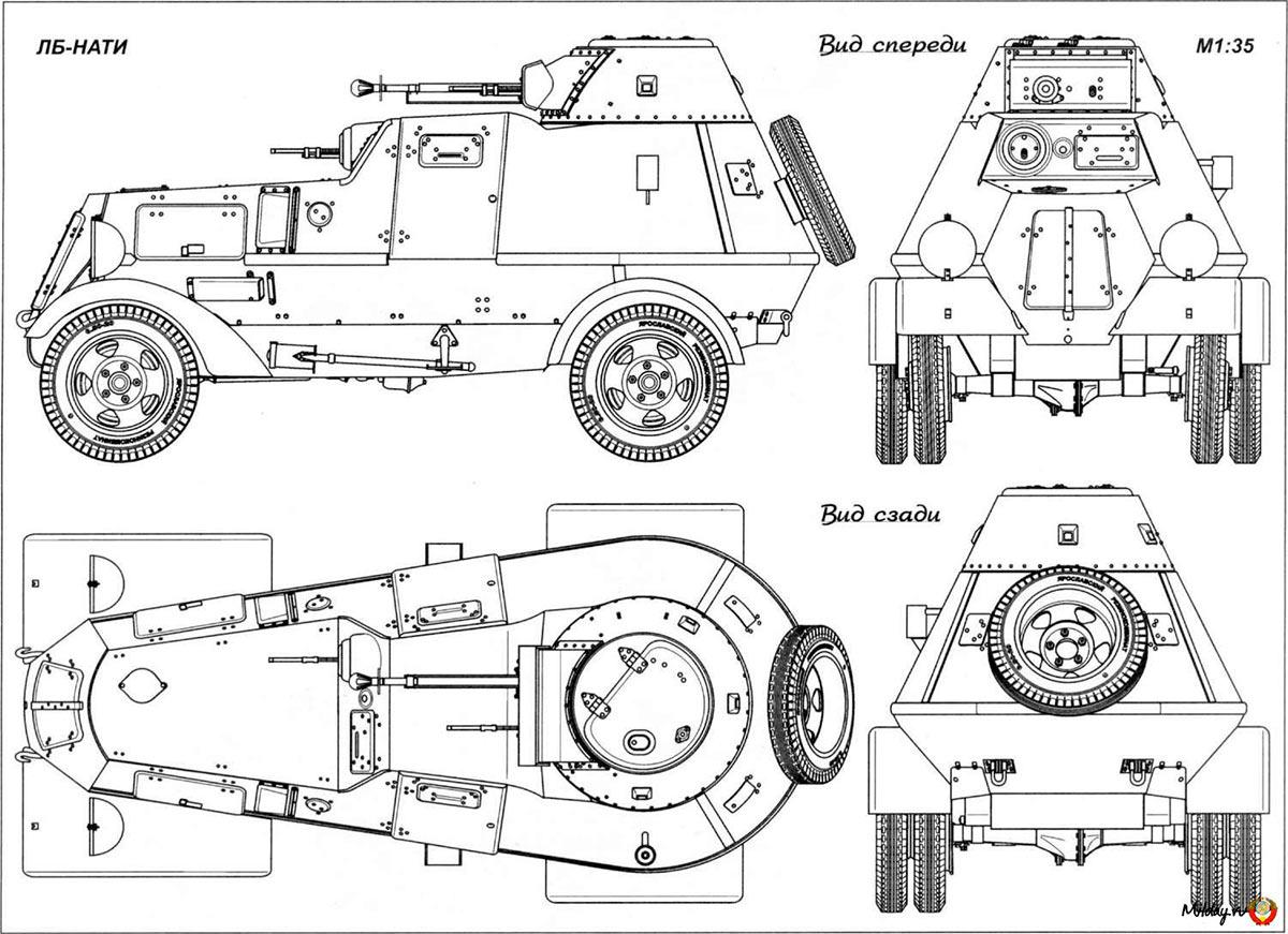 Чертеж бронеавтомобиля ЛБ-НАТИ