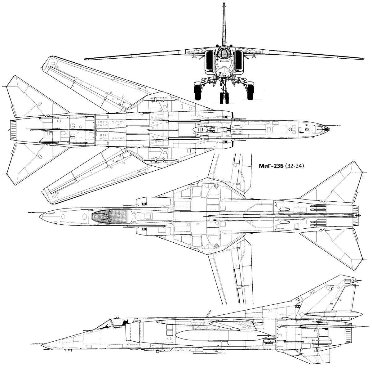 Чертеж истребителя МиГ-23Б