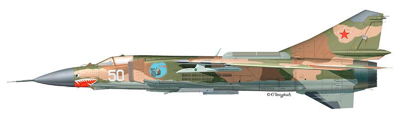 Фронтовой истребитель МиГ-23, вид сбоку